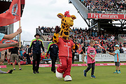 Lanky leads out the teams during the Vitality T20 Blast North Group match between Lancashire County Cricket Club and Yorkshire County Cricket Club at the Emirates, Old Trafford, Manchester, United Kingdom on 20 July 2018. Picture by George Franks.