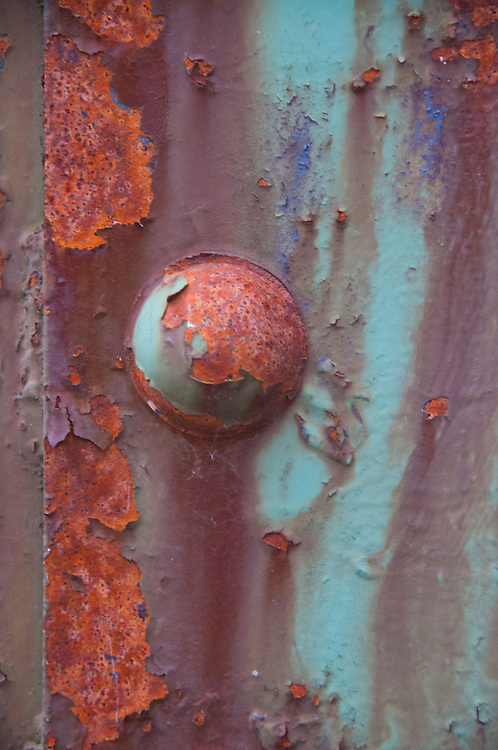 Rust on Bridge Post, Ladder Creek Falls, North Cascades National Park, Washington, US