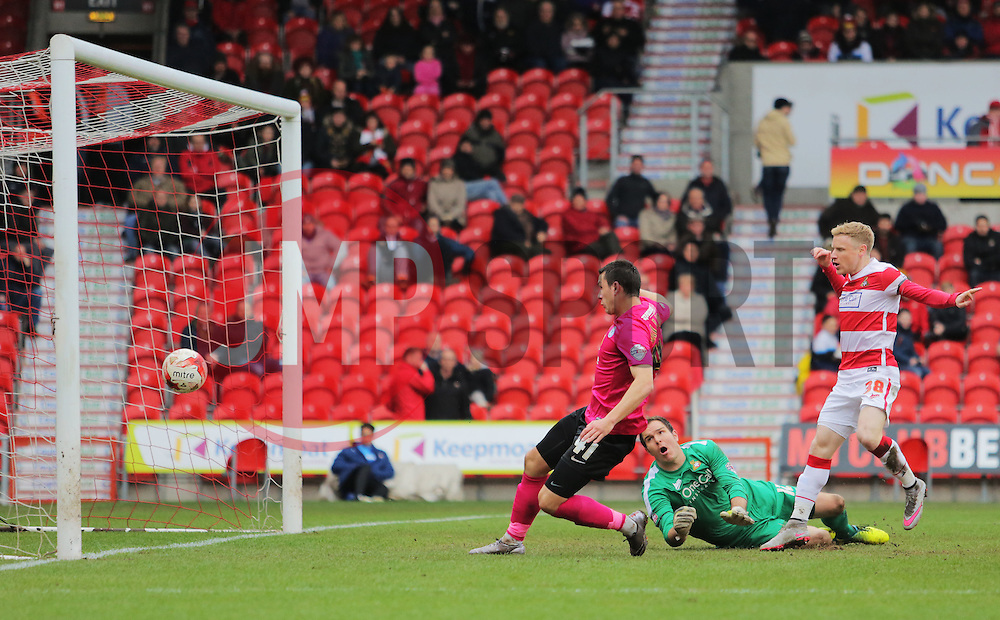Aaron Williams of Peterborough United scores the equalising goal - Mandatory byline: Joe Dent/JMP - 19/03/2016 - FOOTBALL - The Keepmoat Stadium - Doncaster, England - Doncaster Rovers v Peterborough United - Sky Bet League One