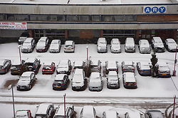 © Licensed to London News Pictures. 01/02/2019. London, UK. Parked cars with snow as it continues to fall in Alperton, North-West London after heavy snow fall overnight. Photo credit: Ray Tang/LNP