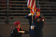 AFJROTC Cadet Tony Rogge with the U.S. flag at a Veterans Day program at Lafayette High in Oxford, Miss. on Thursday, November 8, 2012.
