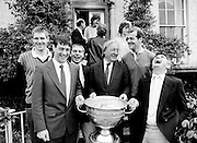 Members of Kerry's All-Ireland-winning team pay a courtesy call to Abbeyville, the home of Charles Haughey TD, along with the Sam Maguire cup, won at Croke Park the previous day. (l–r:) Tom Spillane, Tommy Doyle, Paudie Ó Sé, Charles Haughey, Jack O'Shea and Mick O'Dwyer.<br />