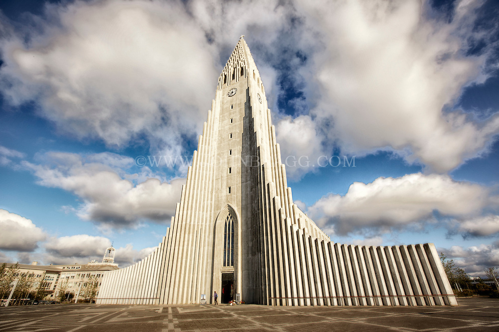 Hallgrimskirkja cathedral in Reykjavik. The inspiration for the design is the naturally forming basalt columns found in Iceland.