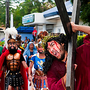 PHILIPPINES (Boac, Marinduque Island). 2009. Way of the Cross procession at Moriones Festival in Boac. Moriones is a religious festival held every year at Easter which links the story of Longinus with Christs Passion and Death.