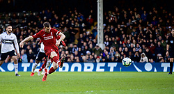 LONDON, ENGLAND - Sunday, March 17, 2019: Liverpool's captain James Milner scores the second goal from a penalty kick during the FA Premier League match between Fulham FC and Liverpool FC at Craven Cottage. (Pic by David Rawcliffe/Propaganda)