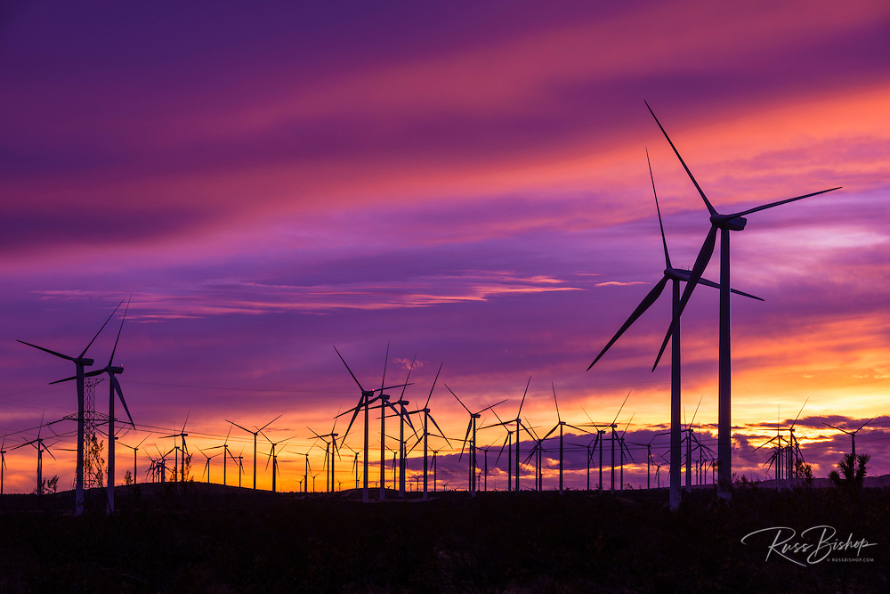 Silhouetted wind turbines at sunset, Mojave, California USA
