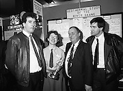 08/01/1988.01/08/1988.8th January 1988 .The Aer Lingus Young Scientist of the Year Award at the RDS, Dublin ..Picture shows (L-R) Pat Marley, Guidance Counsellor, Navan Community College, Co. Meath, The Young Scientist of the Year Sioban Lanigan-O'Keeffe, Michael Hanley, President of the Teachers Union of Ireland and Canice Smyth, Geography teacher at the school.