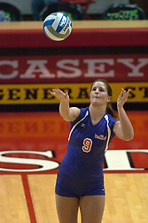 22 October 2006: Julie Walroth serves. Illinois State University swept Evansville in 3 straight games of a best of 5 match. The Evansville Purple Aces met the Redbirds of Illinois State at Redbird Arena on the campus of Illinois State University in Normal Illinois.<br />