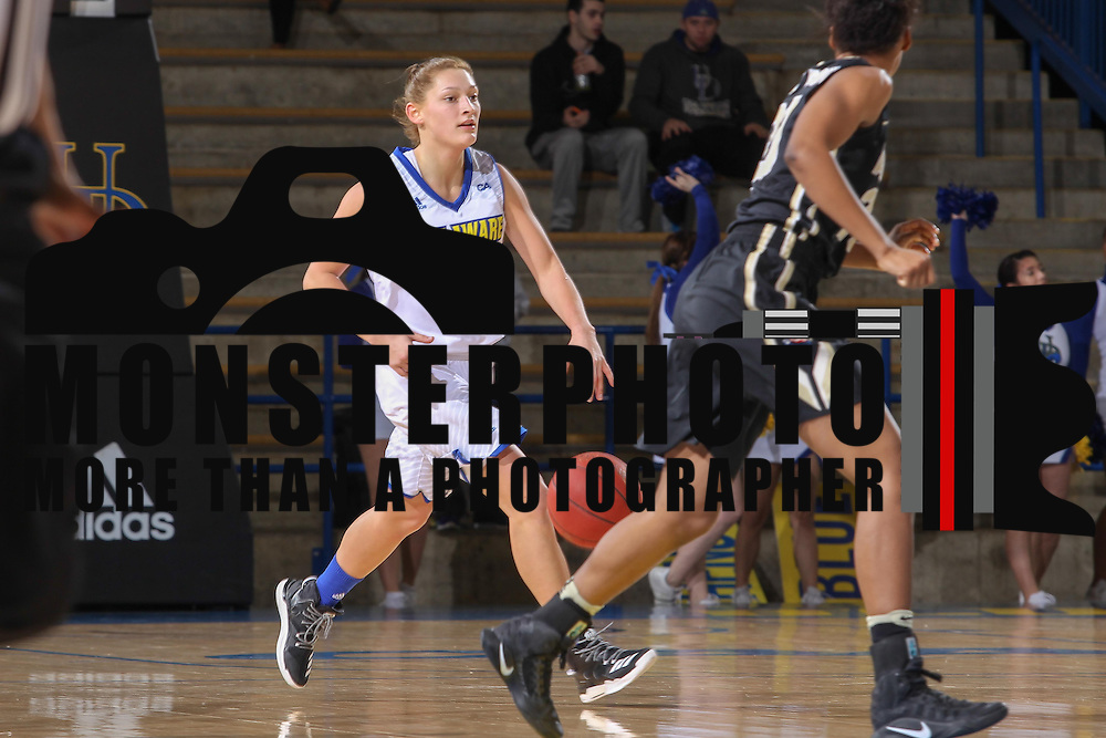 Delaware Guard Abby Gonzales (2) dribbles up the floor during a regular-season non conference game Sunday, Dec. 11, 2016, at the Bob Carpenter Center in Newark Delaware.