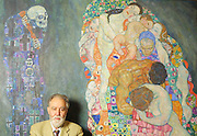 "Museumsquartier, Leopold Museum. Museum Director Prof. Rudolf Leopold with painting ""Tod und Leben (Death and Life)"", 1911/15 by Gustav Klimt. The painting was one of Klimt's favourites, unsigned and always near to him. It is now valued at US$ 40 Million - but of course, it isn't for sale. Prof. Leopold has the largest private collection of paintings of Stile Liberty (Jugendstil) and Secessionismo, which he brought into a foundation in 1994 with support of the Republic and the National Bank of Austria."