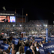 Sen. Barack Obama accepts his party's nomination as the Democratic candidate for President on the fourth day of the Democratic National Committee (DNC) Convention at Invesco Field in Denver, Colorado (CO), Thursday, Aug. 28, 2008.  ..Photo by Khue Bui