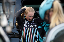 Alice Barnes prepares for Liege-Bastogne-Liege Femmes - a 135.5 km road race between Bastogne and Ans on April 23 2017 in Liège, Belgium.