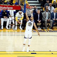 OAKLAND, CA - MAY 31: Stephen Curry #30 of the Golden State Warriors goes for the layup in Game One of the 2018 NBA Finals won 124-114 in OT by the Golden State Warriors over the Cleveland Cavaliers at the Oracle Arena on May 31, 2018 in Oakland, California. NOTE TO USER: User expressly acknowledges and agrees that, by downloading and or using this photograph, User is consenting to the terms and conditions of the Getty Images License Agreement. Mandatory Copyright Notice: Copyright 2018 NBAE (Photo by Chris Elise/NBAE via Getty Images)