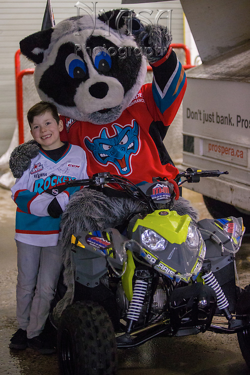 KELOWNA, CANADA - JANUARY 20:  Orchard Park Zamboni Rider at the Kelowna Rockets game on January 20, 2018 at Prospera Place in Kelowna, British Columbia, Canada.  (Photo By Cindy Rogers/Nyasa Photography,  *** Local Caption ***