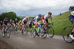 Lotta Lepistö (FIN) of Cervélo-Bigla Cycling Team (middle) rides up the first QOM climb during the Aviva Women's Tour 2016 - Stage 2. A 140.8 km road race from Atherstone to Stratford upon Avon, UK on June 16th 2016.