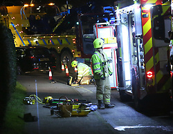 Royston,Hertfordshire Thursday 19th January 2017 A pedestrian has suffered fatal injuries and sadly died after a collision with a fire engine.<br /> Police are investigating the incident which occurred on a roundabout at the junction in York Way and Old North Road, Royston at 8.45pm this evening.<br /> <br /> <br /> Ambulance services also confirmed that another person has been taken to Addenbrooke's Hospital with minor injuries.Circumstances surrounding the collision are still unclear, but police have reported that the fire engine was responding to an emergency call while negotiating the roundabout, before colliding with the pedestrian.<br /> <br /> The fire engine is currently in the road and closures are in place at the roundabout and in Rock Road, with the junction of Old North Road and by the Tesco Superstore.<br /> <br /> Andrew Fowler, from Barrington, a village in Cambridgeshire, told the News: &ldquo;There&rsquo;s a fire engine turned over. And that&rsquo;s on the second roundabout. It&rsquo;s a whole mass of blue flashing lights, including ambulance services and another fire engine.<br /> <br /> &quot;Apparently it&rsquo;s on the far roundabout from the Tesco's as you come off the 505 at the first roundabout. That is one hell of a piece of equipment to go over.&quot;<br /> <br /> Alec Hill, a resident in Lindsay Close, Royston, a couple of hundred yards away from the incident: &ldquo;My daughter and I witnessed the scene. We walked by from Tesco and saw the incident and the controls.<br /> <br /> &ldquo;We were sent away from the police. I asked if it was because of injuries, and he said yes.<br /> <br /> &ldquo;It&rsquo;s pretty obvious that if a fire engine goes off on its side then someone&rsquo;s injured. There must have been around 10 to 15 emergency vehicles. We got that far on our walk and were then sent away.&rdquo;<br /> <br /> An East of England Ambulance Service spokesman said: &ldquo;The East of England Ambulance Service NHS Trust (EEAST) received a call tonight at 8.44pm to reports of an RTC in Royston. <br /> <br /> &ldquo;We dispatched our hazardous area response team (HART), an ambulance officer, ambulance crew, and ai