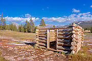 Log cabin at Soda Springs, Tuolumne Meadows area, Yosemite National Park, California