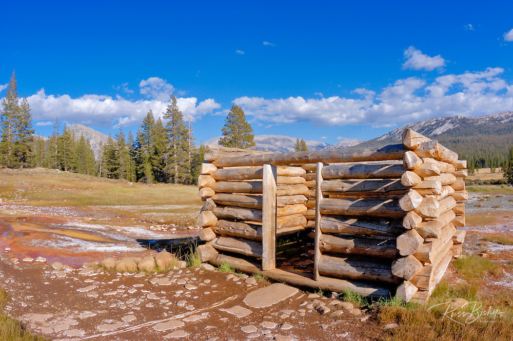 Log cabin at Soda Springs, Tuolumne Meadows area, Yosemite National Park, California
