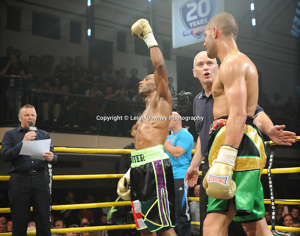 Junior Witter defeats Nathan Graham at Quarter Final Two at Prizefighter Welterweights II,York Hall, Bethnal Green ,London. Matchroom Sport/Prizefighter.Photo credit: Leigh Dawney 2011 07.06.11