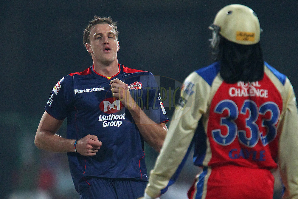 Morne Morkel reacts after bowling during match 21 of the Pepsi Indian Premier League between The Royal Challengers Bangalore and The Delhi Daredevils held at the M. Chinnaswamy Stadium, Bengaluru  on the 16th April 2013..Photo by Ron Gaunt-IPL-SPORTZPICS ...Use of this image is subject to the terms and conditions as outlined by the BCCI. These terms can be found by following this link:..http://www.sportzpics.co.za/image/I0000SoRagM2cIEc