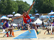 Cameron O'Neal of Biloxi High Mississippi, competes in the Boys Long Jump Finals during the New Balance Outdoor Nationals, Sunday, June 16, 2019, in Greensboro, NC. (Brian Villanueva/Image of Sport)