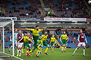 Norwich City forward Josip Drmić (20) head the ball during the The FA Cup match between Burnley and Norwich City at Turf Moor, Burnley, England on 25 January 2020.