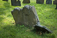 Old, leaning headstones in Boston graveyard