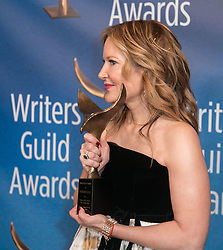February 17, 2019 - Los Angeles, California, United States of America - Stephanie Gillis, winner for Animation, poses in the press room of the 2019 Writers Guild Awards at the Beverly Hilton Hotel on Sunday February 17, 2019 in Beverly Hills, California. JAVIER ROJAS/PI (Credit Image: © Prensa Internacional via ZUMA Wire)