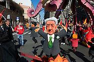 Roma 9 Marzo 2012.Manifestazione nazionale della FIOM, il sindacato dei metalmeccanici, a difesa dell'articolo 18  e contro il governo Monti.Un pupazzo  che rappresenta il premier Monti.Rome 9 March 2012.National demonstration of FIOM, the metalworkers' union, in defense of Article 18 and against  the Monti government.