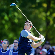 Ryder Cup 2016. Day One. Rory McIlroy of Europe tees off on the sixth in the Friday afternoon four-ball competition during the Ryder Cup at  Hazeltine National Golf Club on September 30, 2016 in Chaska, Minnesota.  (Photo by Tim Clayton/Corbis via Getty Images)