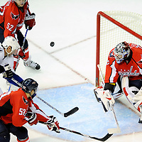 26 December 2007:  Washington Capitals goalie Olaf Kolzig (37) blocks a third period shot taken by Tampa Bay Lightning left wing Vaclav Prospal (20) at the Verizon Center in Washington, D.C.  The Capitals defeated the Lightning 3-2.