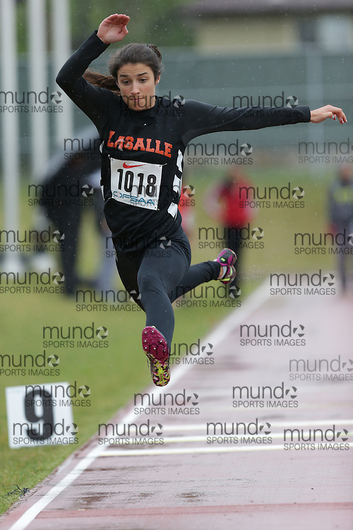 Laura Graham of Lasalle SS - Sudbury competes in the junior girls triple jump at the 2013 OFSAA Track and Field Championship in Oshawa Ontario, Thursday,  June 6, 2013.<br /> Mundo Sport Images / Sean Burges