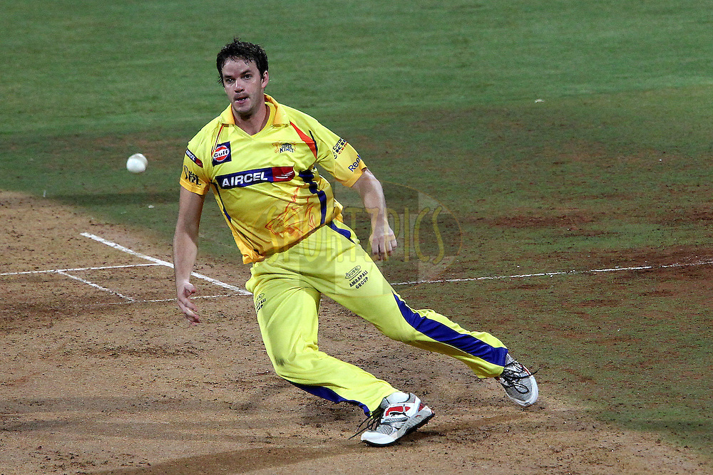 Albie Morkel fields off his own bowling during the Qualifier 1 match of the Indian Premier League ( IPL ) Season 4 between the Royal Challengers Bangalore and the Chennai Superkings held at the Wankhede Stadium, Mumbai, India on the 24th May 2011..Photo by Ron Gaunt/BCCI/SPORTZPICS.