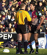 Parker Pen Challenge Cup 14/01/2004 Harlequins v Brive.1st leg...Quins's Pat Sanderson is called by the referee, Hugh Watkins, about an on the ball incident.   [Mandatory Credit, Peter Spurier/ Intersport Images].
