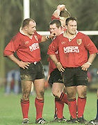 Richmond, GREAT BRITAIN. Rugby National Division One.09/02/2002 London Welsh v Otley - Old Deer Park - Kew - Surrey.<br /> <br /> Left to Right, Chris Ricthie and Steve Pope with Richard Liddington, behind the london Welsh Front row. [Mandatory Credit. Peter Spurrier/Intersport Images] [Mandatory Credit: Peter Spurrier/Intersport Images]
