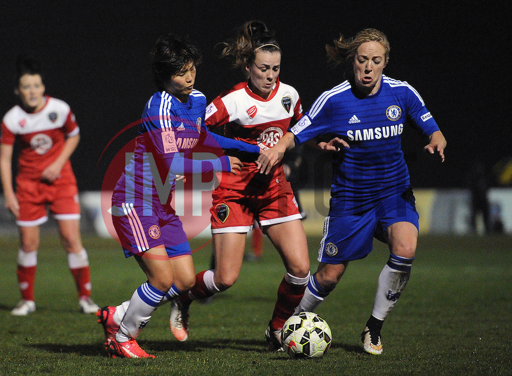Bristol Academy Womens' Georgia Evans jostles for the ball with Ji So-Yun of Chelsea Ladies and Katie Chapman - Photo mandatory by-line: Dougie Allward/JMP - Mobile: 07966 386802 - 02/04/2015 - SPORT - Football - Bristol - SGS Wise Campus - BAWFC v Chelsea Ladies - Womens Super League