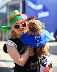 © Licensed to London News Pictures. London, UK. 04/05/2014. London, UK.  Natasha Mas and her Brussels Griffon, Tolly, aka Godzilla, at the Sci-Fi London Dogshow in Stratford East Picturehouse, east London .Photo credit: LNP