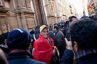 """Palermo, Sicily, Italy - 25 January, 2012: Angelo Faraci, 74, is a farmer from Butera (Caltanisetta) who joined thousands of people during the demonstration organized by the Movimento dei Forconi (Pitchfork Movement), a movement of farmers, shepherds, breeders and fishermen united against the increasing prices of fuel, against corruption, political deafness, Prime Minister Monti and ECB politics. The Pitchforks Movement self-declares itself as """"non-political"""" and """"against party politcs"""", while many observers have denounced the presence of far-right and neo-fascists organizations and parties within or in support of it. Calls for more indipendence from the central government go along with hopes to spread the revolt to the whole Country.  ### Palermo, Sicilia, Italia - 25 gennaio 2012: Migliaia di persone partecipano alla manifestazione organizzata dal Movimento dei Forconi, composto da agricoltori, pastori, allevatori e pescatori uniti contro  l'aumento della benzina, contro la corruzione, contro una politica assente, il Primo Ministro Mario Monti e le politiche della BCE. Il Movimento si dichiara apartitico e apolitico, benché gli osservatori hanno denunciato la presenza di movimenti di estrema destra come Forza Nuova. Il Movimento dei Forconi chiede inoltre una maggiore indipendenza della Sicilia e spera di diffondere la rivolta in tutto il paese."""