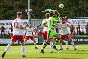 Forest Green Rovers Christian Doidge(9) heads the ball towards goal during the EFL Sky Bet League 2 match between Forest Green Rovers and Accrington Stanley at the New Lawn, Forest Green, United Kingdom on 30 September 2017. Photo by Shane Healey.