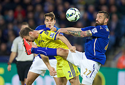 LEICESTER, ENGLAND - Wednesday, April 29, 2015: Chelsea's Branislav Ivanovic in action against Leicester City's Marcin Wasilewski during the Premier League match at Filbert Way. (Pic by David Rawcliffe/Propaganda)