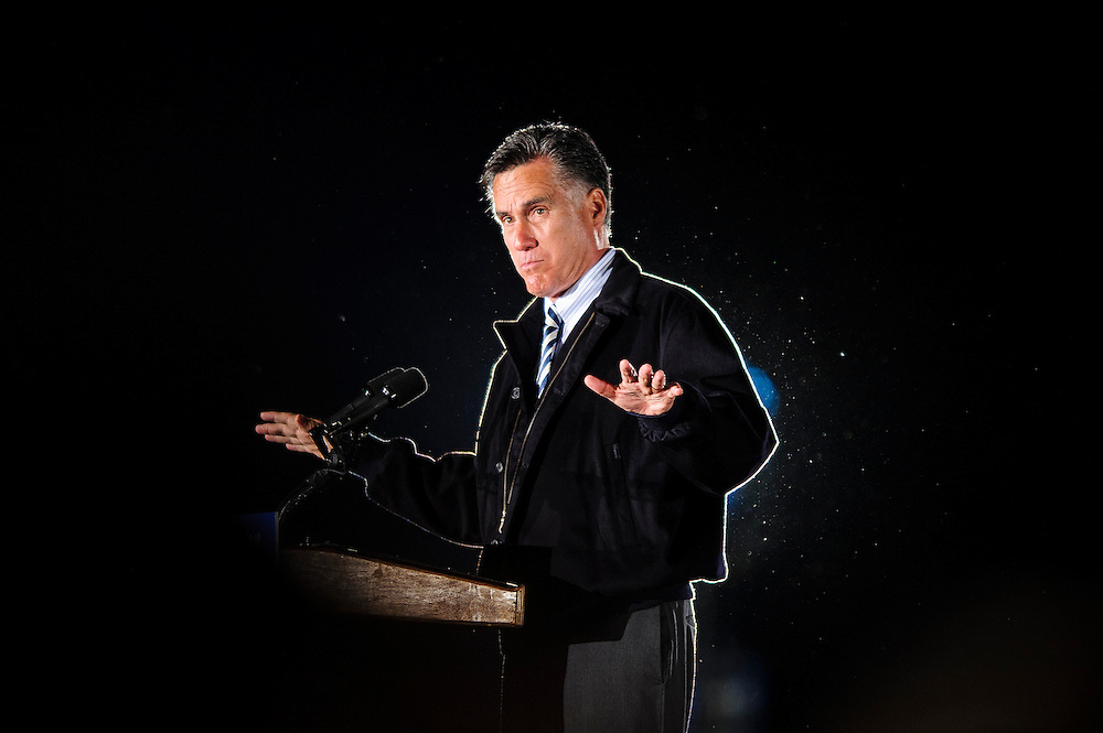 Republican Presidential candidate MITT ROMNEY speaks at a campaign ral6ly in Leesburg , Virginia on Wednesday.