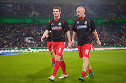 MONCHENGLADBACH, GERMANY - Wednesday, October 15, 2008: Wales' Craig Morgan and David Cotterill before the 2010 FIFA World Cup South Africa Qualifying Group 4 match against Germany at the Borussia-Park Stadium. (Photo by David Rawcliffe/Propaganda)
