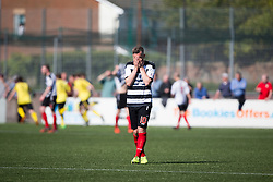 Shire's David McKenna after Edinburgh City's Douglas Gair cele scoring their goal. Edinburgh City became the first club to be promoted to Scottish League Two. East Stirling 0 v 1 Edinburgh City, League play-off game.