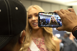 December 5, 2019, Atlanta, Georgia, USA: Anni Harjunp, 23,  greets media on first day of preparations for Miss Universe competition. She hadn't entered any beauty pageants  until 2019, when she was crowned Miss Finland earlier this year. (Credit Image: © Robin Rayne/ZUMA Wire)