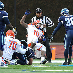 TOM KELLY IV &mdash; DAILY TIMES<br /> SHS's Jalen Overstreet (10) dives backwards into the end zone for a touchdown during the Sam Houston State University at Villanova University NCAA FCS Division 1 - AA quarterfinal game at Villanova Stadium.