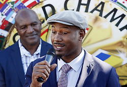October 1, 2018 - Kiev, Ukraine - Former Boxing Champion LENNOX LEWIS (R) speaks and former Boxing Champion EVANDER HOLYFIELD (L) listen during the opening of the 56th World Boxing Convention in Kiev, Ukraine, on 1 October 2018.The WBC 56th congress in which take part boxing legends Evander Holyfield,Lennox Lewis, Eric Morales and about 700 participants from 160 countries runs in Kiev from from September 30 to October 5. (Credit Image: © Serg Glovny/ZUMA Wire)