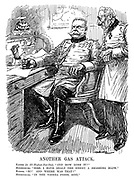 "Another Gas Attack. Kaiser (to all-highest-but-one). ""And how goes it?"" Hindenburg. ""Sire, I have dealt the enemy a smashing blow."" Kaiser. ""So? And where was that?"" Hindenburg, ""In the Vienna press, sire."" (Wilhelm II at field marshall von Hindenburg's office during WW1)"