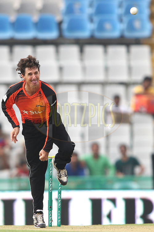 Brad Hogg of the Perth Scorchers sends down a delivery  during match 4 of the Oppo Champions League Twenty20 between the Dolphins and the Perth Scorchers held at the Punjab Cricket Association Stadium, Mohali, India on the 20th September 2014<br /> <br /> Photo by:  Shaun Roy / Sportzpics/ CLT20<br /> <br /> <br /> Image use is subject to the terms and conditions as laid out by the BCCI/ CLT20.  The terms and conditions can be downloaded here:<br /> <br /> http://sportzpics.photoshelter.com/gallery/CLT20-Image-Terms-and-Conditions-2014/G0000IfNJn535VPU/C0000QhhKadWcjYs