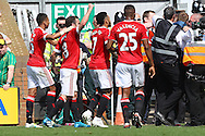 Juan Mata of Manchester United celebrates what turns out to be the winning goal during the Barclays Premier League match at Carrow Road, Norwich<br /> Picture by Paul Chesterton/Focus Images Ltd +44 7904 640267<br /> 07/05/2016