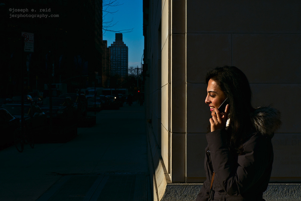 Smiling woman on cell phone